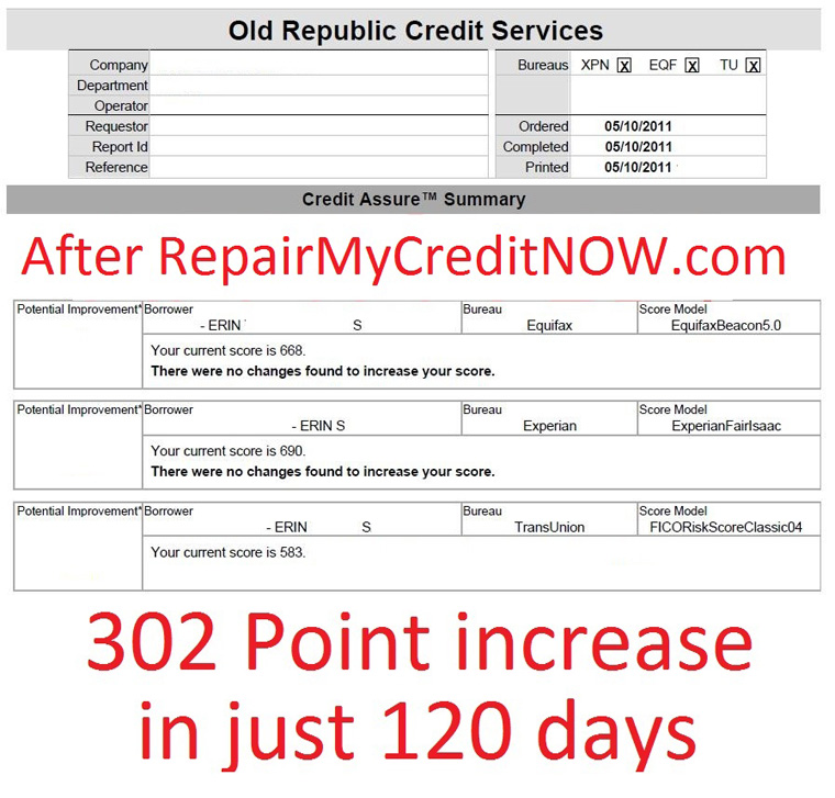 Credit agency report after successful credit repair