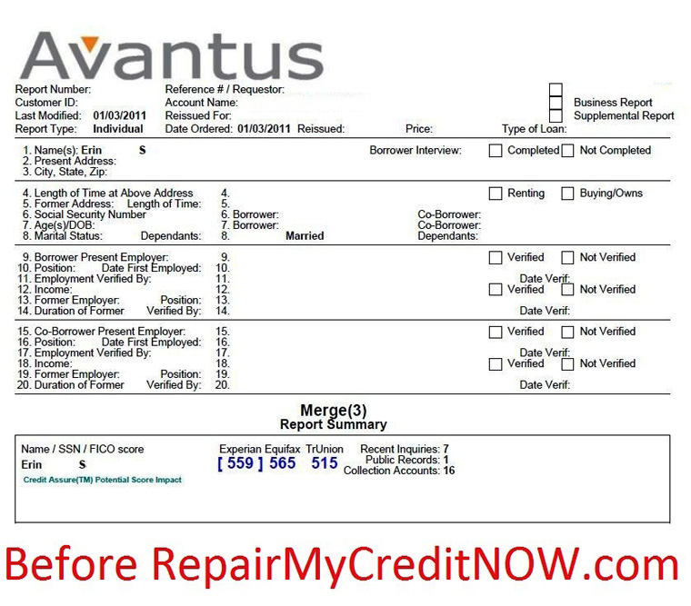 Credit agency report before successful credit repair