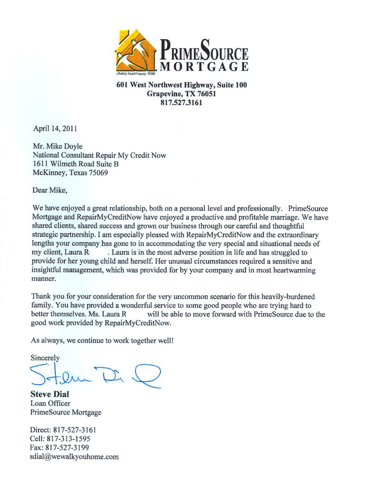 Letter from mortgage company praising RMCN credit repair
