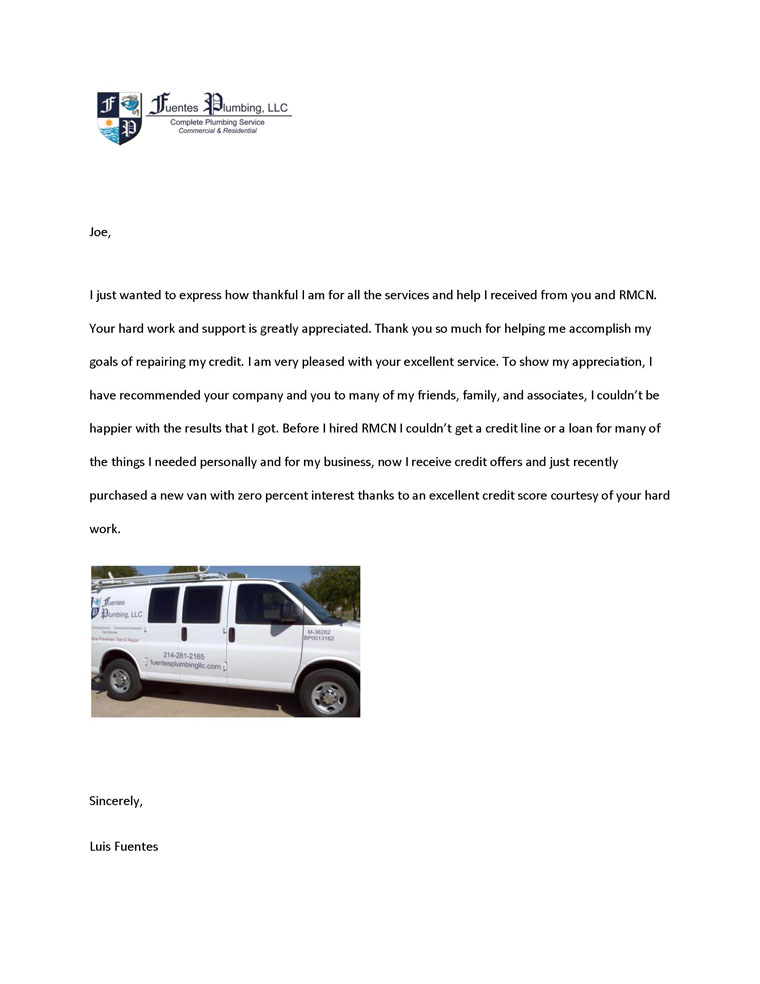 Letter from very pleased credi repair client