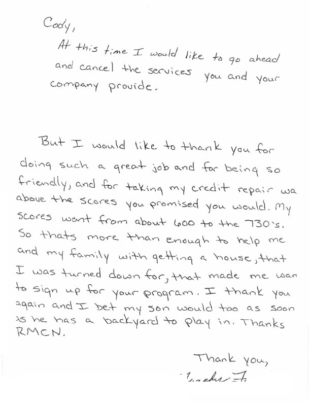 Letter from happy credit repair customer