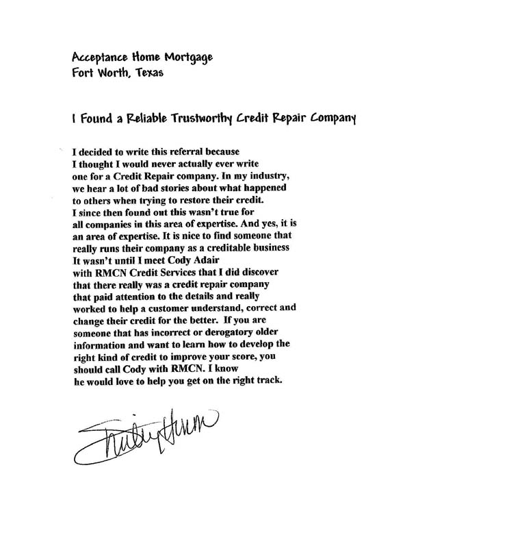 Letter from satisfied RMCN Credit Repair Client