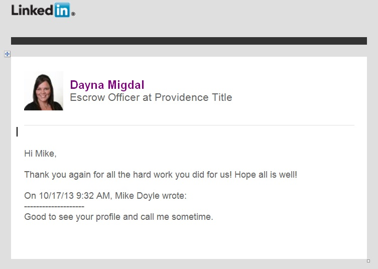 linkedin note thanking Mike Doyle of Repair My Credit Now for his help in credit repair