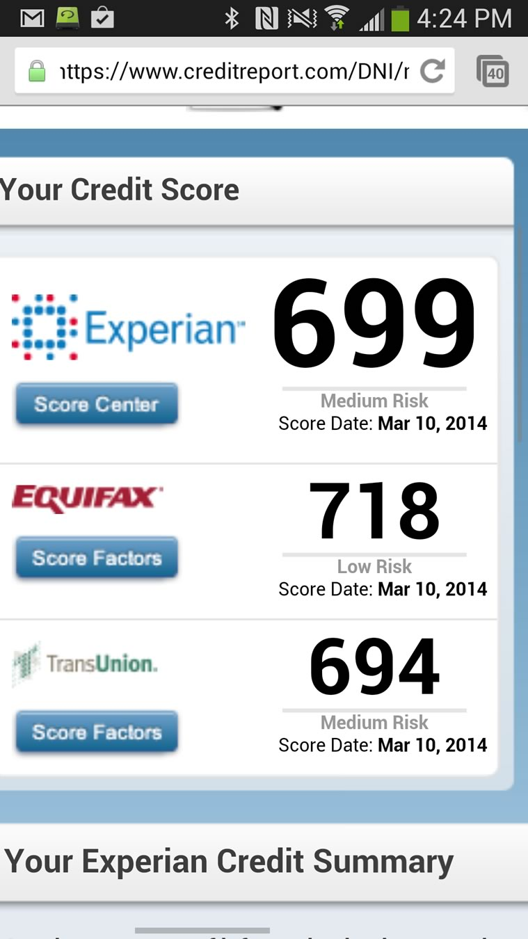 screen shot of credit repair results showing all 3 agencies