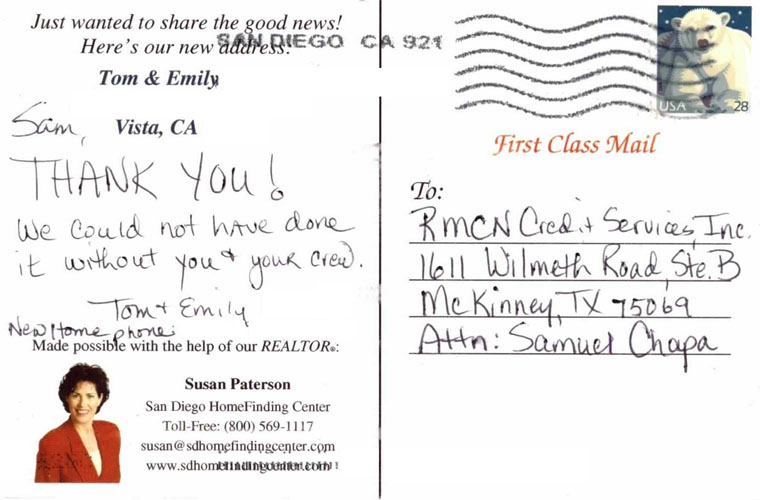 postcard from estatic credit repair client